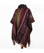 Lightweight Baby Alpaca Wool Poncho Handmade S.American Artisans Burgund... - £57.53 GBP