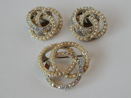 VTG 1960s Intertwined Circles Pin & Clip Earrings Set Silver Pearls Rhin... - $7.84