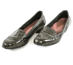 Clarks Everyday Loafers Gray Patent Leather Croc Slip-On Shoes Womens 7.5 M - €26,17 EUR