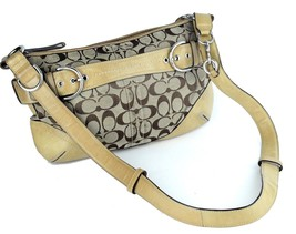 Authentic COACH Brown Canvas Fabric Leather Hobo Shoulder Bag # G0868-F07077 - $88.11