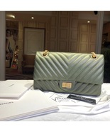 100% AUTHENTIC Chanel 2.55 Reissue IRIDESCENT GREEN CHEVRON 226 Double F... - $5,299.99