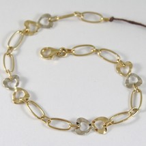 Yellow Gold Bracelet White 750 18k with Alternating Hearts and martellati, Heart image 1