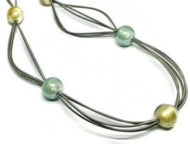 """MULTI WIRES NECKLACE YELLOW BLUE BIG MURANO GLASS SPHERES, 90cm 35"""" LONG, ITALY image 2"""