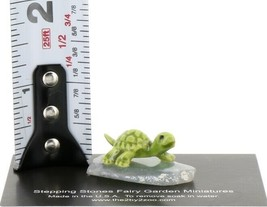 Stepping Stones Fairy Garden Miniature Green Turtle on Sliced Quartz Base #2722 image 2