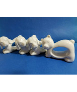 """3 Puppy Dogs & 1 Kitty Cat Napkin Rings White Porcelain 1.5"""" Tall - $24.99"""
