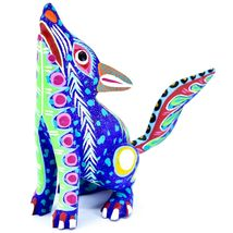 Handmade Oaxacan Copal Wood Carving Painted Folk Art Howling Wolf Coyote Figure image 3