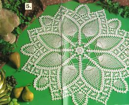6 Heirloom Pineapple Berka Shells Grapevine Pinwheel Crochet Doily Patterns - $13.99