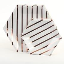 Andaz Press Rose Gold Foil Striped Paper Party Plate Sets, Hexagon Shape... - £14.38 GBP