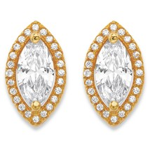 PalmBeach Jewelry 2.32 TCW Cubic Zirconia 14k Gold-Plated Halo Stud Earrings - $23.99