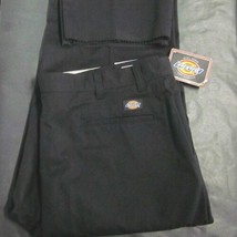 DICKIES NWT MENS 46UU BLACK POLY BLEND UNIFORM WORK PANTS UNFINISHED CUF... - $25.48