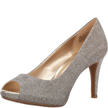 Bandolino Rainaa Peep-Toe Pumps Fabric Gold 10M - $35.40