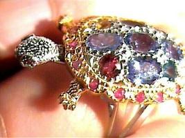 Natural TANZANITE RUBY, TURTLE  925 Sterling Silver Ring 7.5 RARE UNIQUE... - $65.28