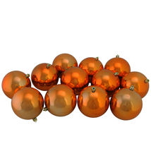 "12ct Burnt Orange Shatterproof Shiny Christmas Ball Ornaments 4"" - tkcc - $43.95"