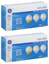 Lot of 6 GE 60W Decorative G25 Soft White Incandescent Bulbs, 3 Pack, 750 Lumens