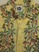 GORGEOUS Hilo Hattie 100% Silk Yellow With Hula Girls Hawaiian Aloha Shi... - $37.49