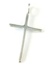 Spiritual Religious Cross Pendant High Polished Silver Metal - $6.99
