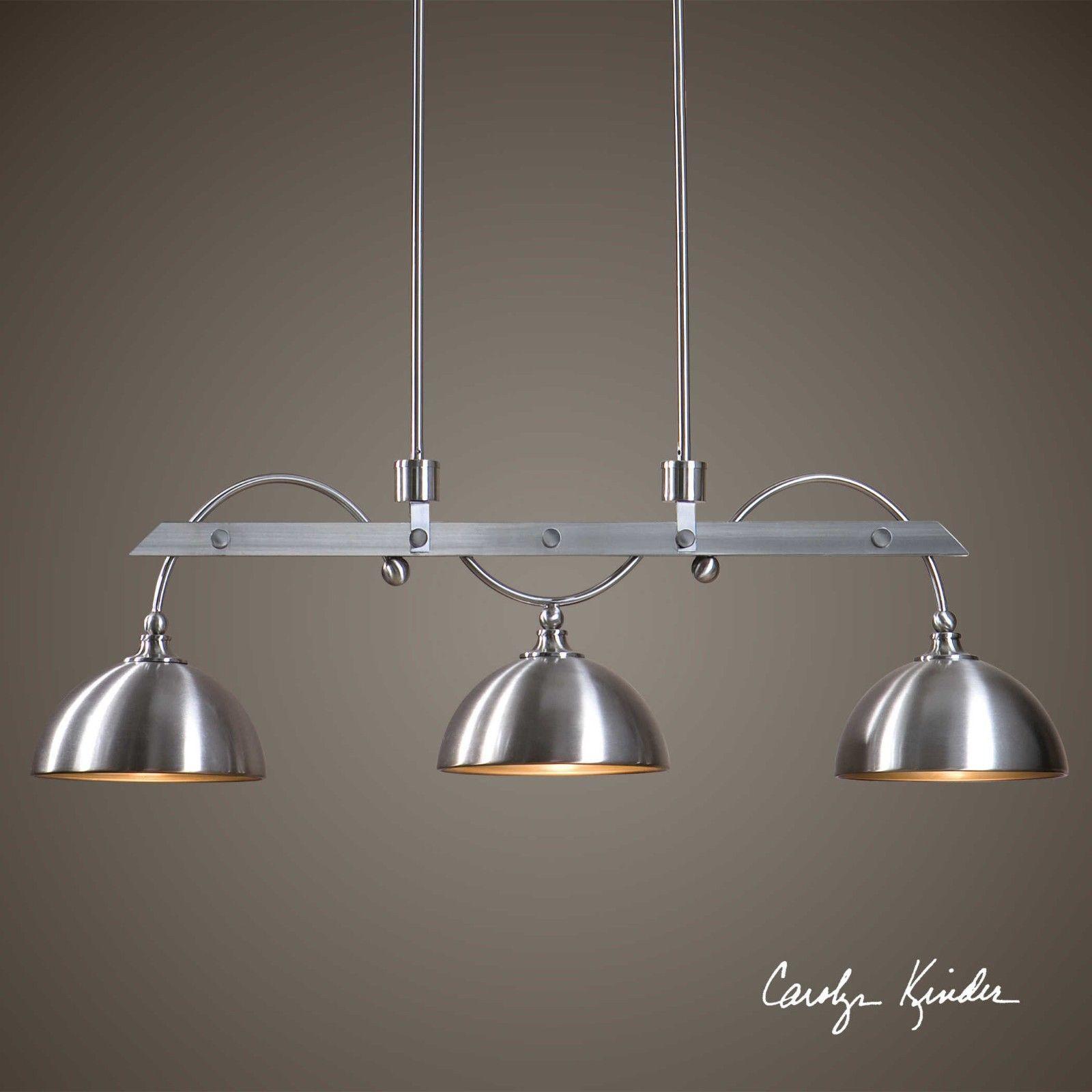 Nickel Pendant Lighting Kitchen: NEW SATIN NICKEL METAL CHANDELIER THREE PENDANT HANGING