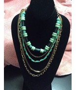 multi layer Green & Gold  Necklace costume jewelry Business-casual Multi... - $7.69
