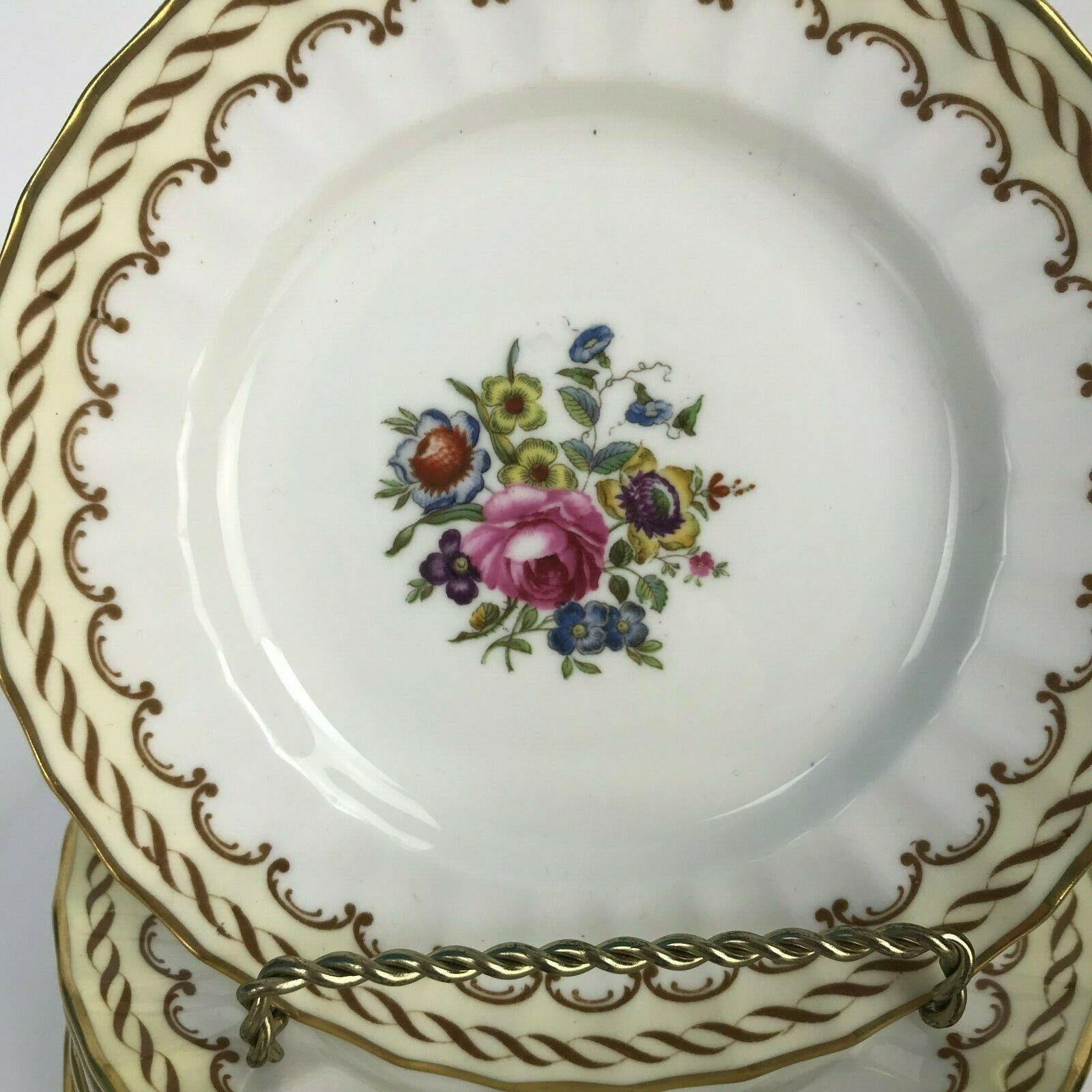 Set Of 8 Vintage Royal Worcester England Floral Center Kempsey Bread Plates U20 image 2
