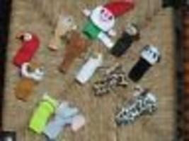 Set of 12 Dutch Assorted Animal Finger Puppets Monkey Panda Gnome - $64.60