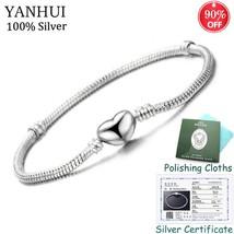 Have Certificate! Original 925 Solid Silver Heart Shape Charm Bracelet S... - $27.08