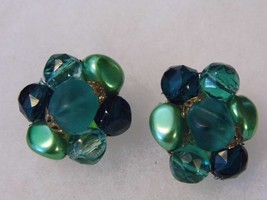 Vintage Clip On Earrings Green Stone Western Germany Costume Fashion Jew... - $11.66