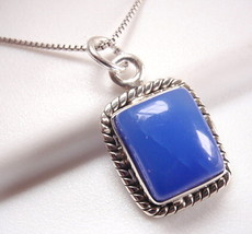 Chalcedony Rectangle with Rope Style Accents 925 Sterling Silver Necklace - $298,57 MXN