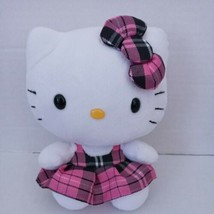 "Ty Hello Kitty Sitting Plush Pink Plaid Dress 6.5"" Sanrio Pre-owned - $9.89"