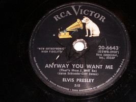 Elvis Presley Anyway You Want Me Love Me Tender 78 RPM Record RCA Label - $74.99