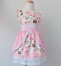 NEW Boutique Native Woodland Animals Ruffle Lace Pink Dress  - $16.99