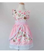 NEW Boutique Native Woodland Animals Ruffle Lace Pink Dress  - $16.99