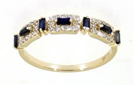 0.35CT Blue Sapphire Gemstone 14K Yellow Gold Real Diamond Fancy Ring Je... - $1,230.00