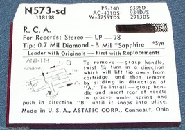 Astatic N573-SD RECORD PLAYER NEEDLE for RCA RMP-204-9 RCA 117330  648-DS73 image 2