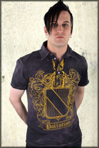 Pollution Coat Of Arms Medieval Mens Short Sleeve Polo Shirt Washed Blac... - $63.10