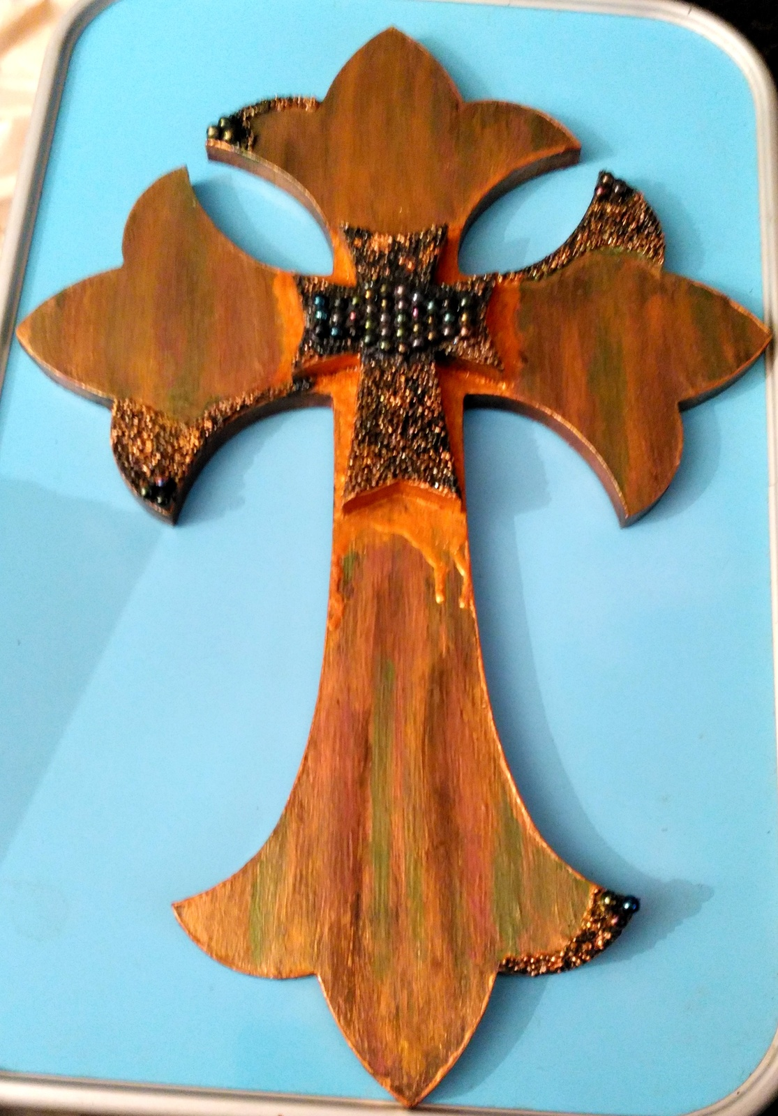 "Double stacked Cross ""Shimmering Hope"" Embellished by Deboriah"