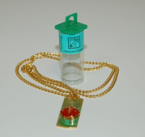 Apothecary Products 91200 Gold Color Penicillin Allergy Medical Alert Necklace