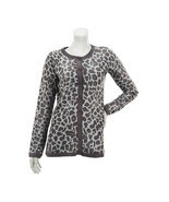 Dennis Basso Fierce Long Slv Leopard Crew Neck Cardigan Solid Dove L NEW... - $39.58
