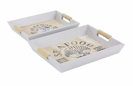 "Deco 79 98875 Wooden Trays Set of 2, 13"" x 15"", White/Lightbrown - £17.61 GBP"