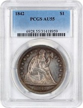 1842 $1 PCGS AU55 - Low Mintage Date - Liberty Seated Dollar - Low Minta... - $1,387.10