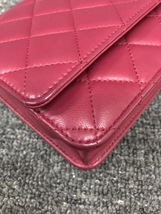 100% AUTH CHANEL WOC Quilted Lambskin Red Wallet on Chain Flap Bag SHW image 5
