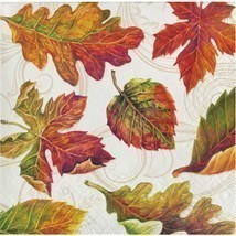Colors of the Wind 16 Beverage Napkins Thanksgiving Fall Leaves - $3.47