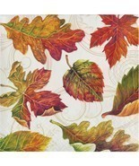 Colors of the Wind 16 Beverage Napkins Thanksgiving Fall Leaves - $4.55 CAD
