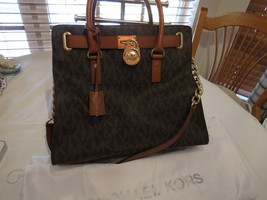 Michael Kors Hamilton Large Brown PVC Leather Tote Shoulder Handbag Bag ... - $312.83