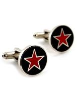 RED STAR CUFFLINKS Black & Silver Metallic NEW w GIFT BAG Pair Men's Acc... - $9.95