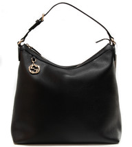 GUCCI 449711 Interlocking G Charm Leather Hobo Handbag, Black - $862.75