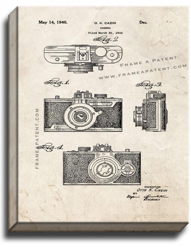 Primary image for Camera Patent Print Old Look on Canvas