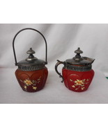 Vintage Consolidated Glass Satin HP Pigeon Blood Ruby Creamer and Sugar ... - $262.84