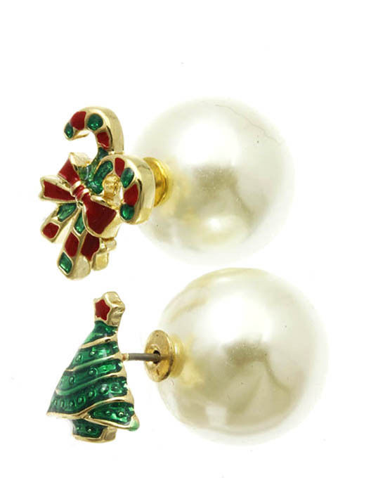 Christmas Tree Candy Cane Bow Double Sided Cream Ball Earrings