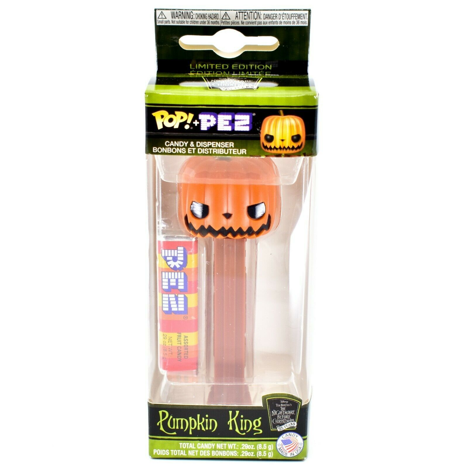 Funko Pop Pez Limited Edition Pumpkin King Nightmare Before Christmas 25 Years