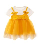 Summer Baby Girls Dresses Toddler Bow Fake 2 Piece Cotton Sundress Kids ... - $10.99